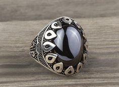 925 K Sterling Silver Man Ring  Black Onyx Gemstone 31.35$