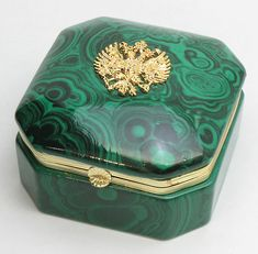 Malachite box with russian imperial seal