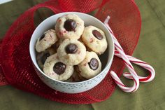 Candy Cane Cookies with Mint Chocolate Centers {Satisfy My Sweet Tooth}