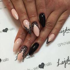 pale pink lace nails: