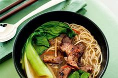 Pork noodle soup recipe, NZ Woman's Weekly – This is a very simple and super fast noodle dish. Top it off with Chinese BBQ pork (char siu pork) for an Asian twist. – foodhub.co.nz