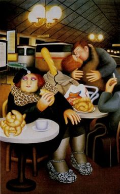 Love my Beryl Cook painting entitled Gare Du Nord - makes me laugh everytime I look at it.