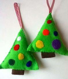 Manualidades navideñas con fieltro: fotos ideas originales - Árboles de Navidad con fieltro