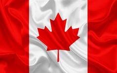 Herunterladen hintergrundbild kanadische flagge, kanada, nordamerika, seide, flagge von kanada