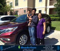 https://flic.kr/p/Gfsdtb | Happy Anniversary to Kiran on your #Honda #CR-V from Teal McDonald at Honda Cars of Rockwall! | deliverymaxx.com/DealerReviews.aspx?DealerCode=VSDF
