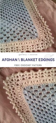 Afghan \ Blanket Edging Free Crochet Pattern # crochet blanket edging Baby Blankets with Cute Crochet Edgings Crochet Baby Blanket Borders, Crochet Edging Patterns Free, Crochet Boarders, Crochet Lace Edging, Baby Afghan Crochet, Manta Crochet, Crochet Blanket Patterns, Crochet Edgings, Crochet Edges For Blankets