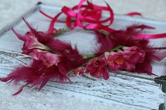Pink tie back floral crown,floral wreath, Hot Pink Feather and Flower Wreath