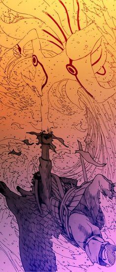 Kurama (九喇嘛) / Kyuubi (九尾) / Kyubi / Nine Tail & Susanoo (須佐能乎) | Tempestuous God of Valour / Yuubu no Aragami (勇武の荒神) | Naruto Uzumaki (うずまきナル) & Sasuke Uchiha (うちはサスケ) | NARUTO (ナルト)