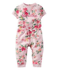 Another great find on #zulily! Light Pink Floral 'Sweetie' French Terry Playsuit - Infant #zulilyfinds