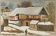 Czech Genealogy for Beginners: Josef Lada: Easter Grandma Moses, Henri Rousseau, Easter Traditions, Naive Art, Town And Country, Old Houses, Illustrators, Cool Pictures, Traditional