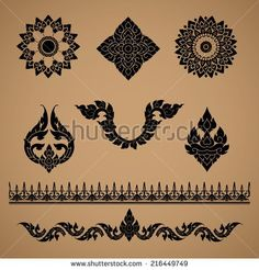 Set of Thai art culture vector,Thai art ornament