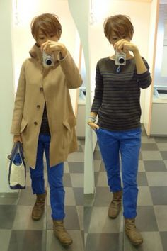 UNIQLO、GAP、MUJIのプチプラコーデ Coat/UNIQLO+J T-shirt/MUJI Bottoms/GAP Bag/L.L.Bean Shoes/none Today is the coordination of brown and blue.