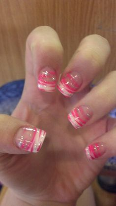 Pink and glitter zebra with French tips i want to get these done on my nails