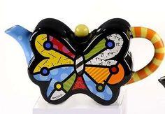 Artist-Romero-Britto-Ceramic-Mini-Butterfly-Teapot-331822-NIB