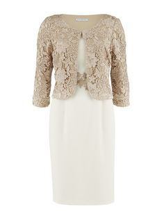 Gina Bacconi Almond Guipure Jacket, Crepe Dress with Guipure