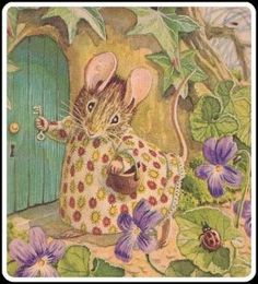 """Beatrix Potter - the original """"Cottage"""" Mouse - painted and decorated with gumpaste flowers. The Beatrix Potter books are pretty timeless favorite in our home no matter how old the kids get. Sweet memories flow with her stuff. Beatrix Potter Illustrations, Beatrice Potter, Peter Rabbit And Friends, Motifs Animal, Cute Mouse, Marjolein Bastin, Woodland Creatures, Children's Book Illustration, Book Illustrations"""