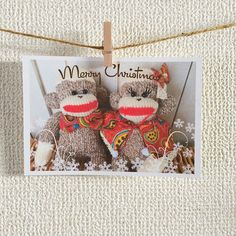 K&K Sock Monkey Postcard  Set of 4 cards  by KnKCraftsAndDesigns