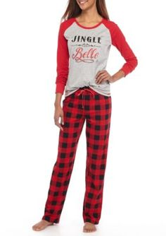 Holiday Cheer Women s 2-Piece Southern Buffalo Checker Print Pajama Set -  Red Belle - 9ff62a43d