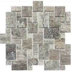 Parvatile Mini Versailles Random Sized Stone Mosaic Tile in Silver Stone Mosaic Tile, Marble Mosaic, Mosaic Glass, Versailles, Travertine Floors, Travertine Shower, Shower Tiles, Ceramic Subway Tile, Wood Look Tile