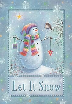 Snowman ~ Let It Snow ~ The colors in this print are so soft and lovely...