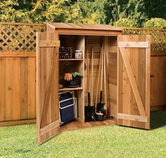 Gardener's Hutch Cedarshed's convenient smaller storage kits like the Gardener's Hutch may be the perfect … Storage Shed Kits, Garden Tool Storage, Garden Tool Shed, Cedar Shed, Cedar Garden, Small Sheds, Tool Sheds, Shed Design, Outdoor Sheds