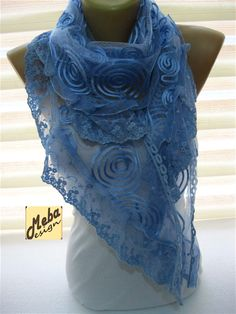 Lace scarf Blue Scarf-gift Ideas For Her Women's
