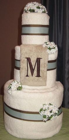 Wedding Towel Cake. Gift for a bridal shower. Personalized with monogram and color scheme. creative-ideas by carlene