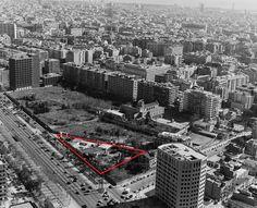 BIKINI. Sala de festes. Mini-Golf. Discoteca (1953-1990) - 1988.- Vista aèria del solar avui ocupat pel centre comercial L'Illa Diagonal, sobre el que s'ha marcat en vermell l'àrea que ocupava la discoteca i minigolf Bikini.