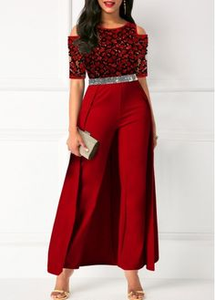 Women'S Red Cold Shoulder Belted Overlay Formal Jumpsuit Lace Panel Half Sleeve Straight Cocktail Party Jumpsuit By Rosewe Cold Shoulder Belted Lace Instagram Mode, Chloe Sevigny, Latest African Fashion Dresses, Winter Trends, Cara Delevingne, Overall, Classy Dress, Cocktail Dress Classy Elegant, African Dress