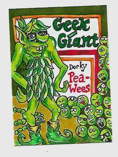 ORIGINAL ART SKETCH CARD WACKY PACKAGES GEEK GIANT GREEN GIANT FAN ART SCHERES #PopArt