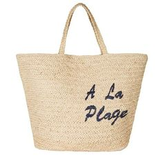 Joie A La Plage Tote (738300 PYG) ❤ liked on Polyvore featuring bags, handbags, tote bags, a la plage, totes, embroidered tote bags, straw beach tote, tote handbags, beige handbags and straw tote bags
