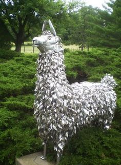 One-of-a-kind Lawn Ornament: Metal Llama Priceless....