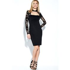 Yoins Black Lace Long Sleeves High Neck Bodycon Dress ($20) ❤ liked on Polyvore featuring dresses, black, long sleeve bodycon dress, lace dress, body con dresses, long-sleeve midi dresses and long sleeve lace cocktail dress