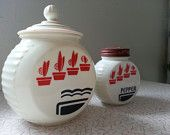 Vintage Anchor Hocking round Vitrock Jar canister with lid and Pepper shaker Red & Black by RetrospectiveResale on Etsy, $35.00 USD