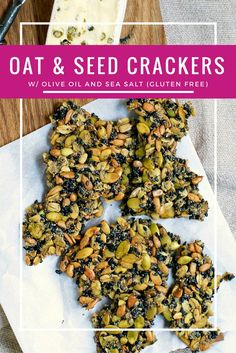 Oat and Seed Crackers with Olive Oil and Sea Salt - Homemade Crackers Crackers Recipe Gluten Free Crackers via pinchandswirl Healthy Crackers, Gluten Free Crackers, Homemade Crackers, Savory Snacks, Vegan Snacks, Healthy Snacks, Vegan Recipes, Snack Recipes, Cooking Recipes