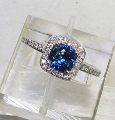 Blue Sapphire In Square 14k Gold Diamond Halo Gemstone Jewelry September Birthstone. $300.00