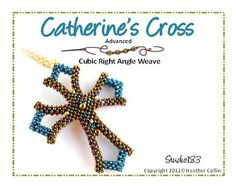 Elegant Gothic Cross  - CATHERINE'S CROSS - using cubic right angle weave with  15, 11, and 8 seed beads and drops by Dreamweaver's Studio