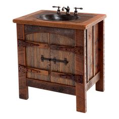 Woodland Creek Furniture - Heritage Collection Reclaimed Wood Vanity With Hand-Hammered Copper Sink - The Heritage barnwood vanity is truly unique with its solid wood hand carved door hinges. Yes, you read that correct. The hinges are made from wood by hand the old fashioned way. The door latch is hand forged metal. The combination of these unique attributes with the textured barnwood results in a truly unique rustic vanity.