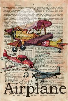"""""""Airplane""""   6"""" x 9"""" Mixed Media Drawing on Distressed, Dictionary Page   Original SOLD  - Prints Available via Etsy      """"Helicopter""""  ..."""