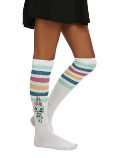 Knee-high socks from Disney's Lilo & Stitch with stripes & Stitch designs.