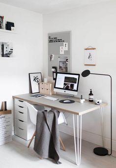Minimal and contemporary home office. Home tour - a Scandinavian-inspired house in Salisbury Home Office Space, Home Office Design, Home Office Decor, Home Decor, Home Office Inspiration, Workspace Inspiration, Office Ideas, Decoracion Habitacion Ideas, Scandinavian Office