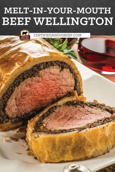 Impress your guests with Beef Wellington! It's a classic recipe with center cut tenderloin roast and mushrooms wrapped in puff pastry and cooked to perfection. #bestangusbeef #certifiedangusbeef #beefrecipe #beef #beefdinner #beefwellington #holiday #beefrecipes Best Roast Beef Recipe, Beef Tenderloin Recipes, Best Beef Recipes, Meat Recipes, Recipes With Beef Roast, Cooking Recipes, Best Beef Wellington Recipe, Easy Beef Wellington, Wellington Food