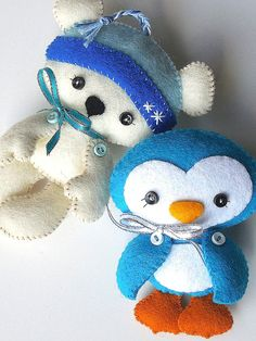 Penguin Christmas Ornament PDF Sewing by LittleThingsToShare