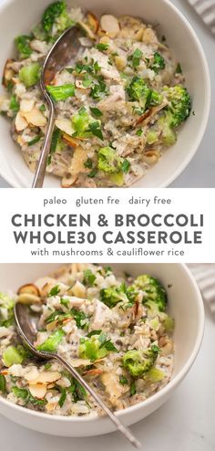 This Whole30 casserole is a perfect Whole30 fall recipe, loaded with warming and filling ingredients. This Whole30 casserole is made with chicken, broccoli, cauliflower rice, and mushrooms, making it full of protein, fiber, and healthy fats! This Whole30 casserole makes plenty of leftovers, making healthy lunches easy. With a homemade cream of mushroom soup, you'll love this Whole30 casserole on a round or anytime. #whole30 #lowcarb