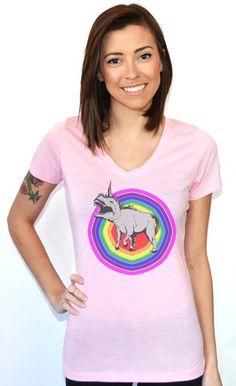 Artisan Tees - Dinocorn V-neck Women's Fashion T-shirt Grunge, Dinosaur Shirt, Harajuku, Bae, Punk, Unicorns, Colorful Fashion, Vintage Fashion, Women's Fashion