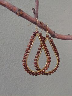 $12--wood + gold teardrop earrings | Redinfred