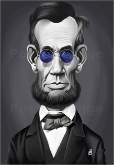 Poster Abraham Lincoln Steampunk Glasses  art | decor | wall art | inspiration | caricature | home decor | ideas | gift