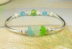 ON SALE Eco Friendly Sea Glass Bracelet Silver by BoardwalkBaubles, $25.00