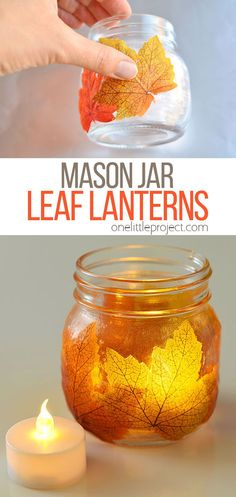 These mason jar leaf lanterns are SO PRETTY and theyre so easy to make! This is such a great DIY fall decoration! Perfect for the fall mantle or a thanksgiving table. Such a great grown up craft and a fun little decoupage craft for fall! Fall Mason Jars, Mason Jar Lanterns, Mason Jar Crafts, Mason Jar Diy, Candle Jars, Crafts In A Jar, Pickle Jar Crafts, Diy Luminaire, Idee Diy