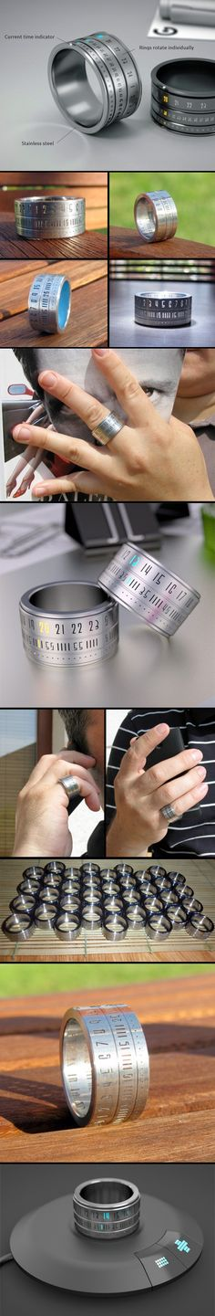 Stylish clock ring crafted out of stainless steel. Three smaller rings rotate and display hours, minutes, and seconds.  LED lights make the time visible in the dark and the ring is water-resistant.  Modern fashion accessory eliminates the need for a watch.